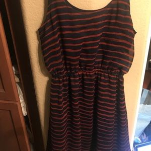 Red and navy stripped dress